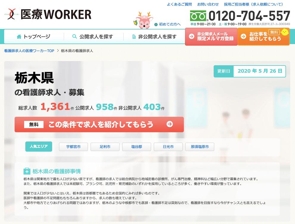 栃木県 看護師 転職サイト 医療ワーカー
